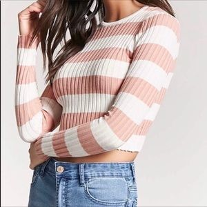 Pink and White Striped Ribbed Crop Top